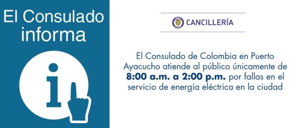El Consulado de Colombia en Puerto Ayacucho atiende únicamente de 8:00 a.m. a 2:00 p.m. por una falla en el servicio de energía eléctrica en la ciudad